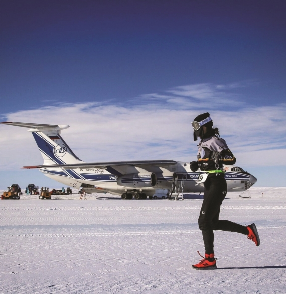 Newcomer racing in Novo, Antarctica.