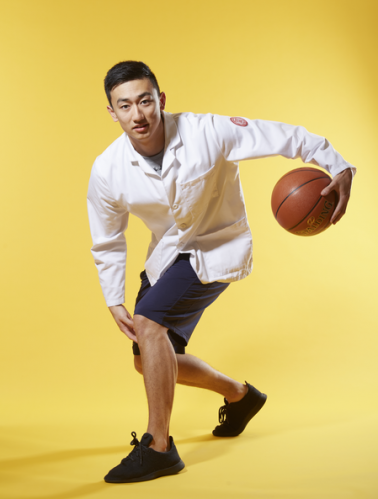 """Aaron Chen '21 -""""To manage stress, I love playing basketball with my classmates in Olin Gym. It allows me to experience healthy competition and get in a great workout in the process."""""""