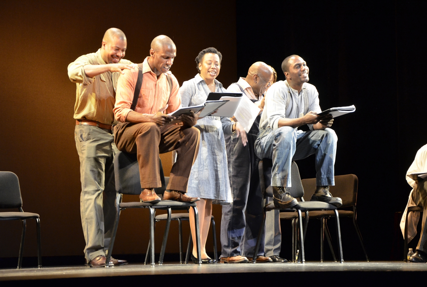 "Actors perform a staged reading of the play ""Miss Evers' Boys,"" from left to right: Morocco Omari, Andre Ward, Portia, Helmar Augustus Cooper and NaShawn Kearse All photos: CTSC"