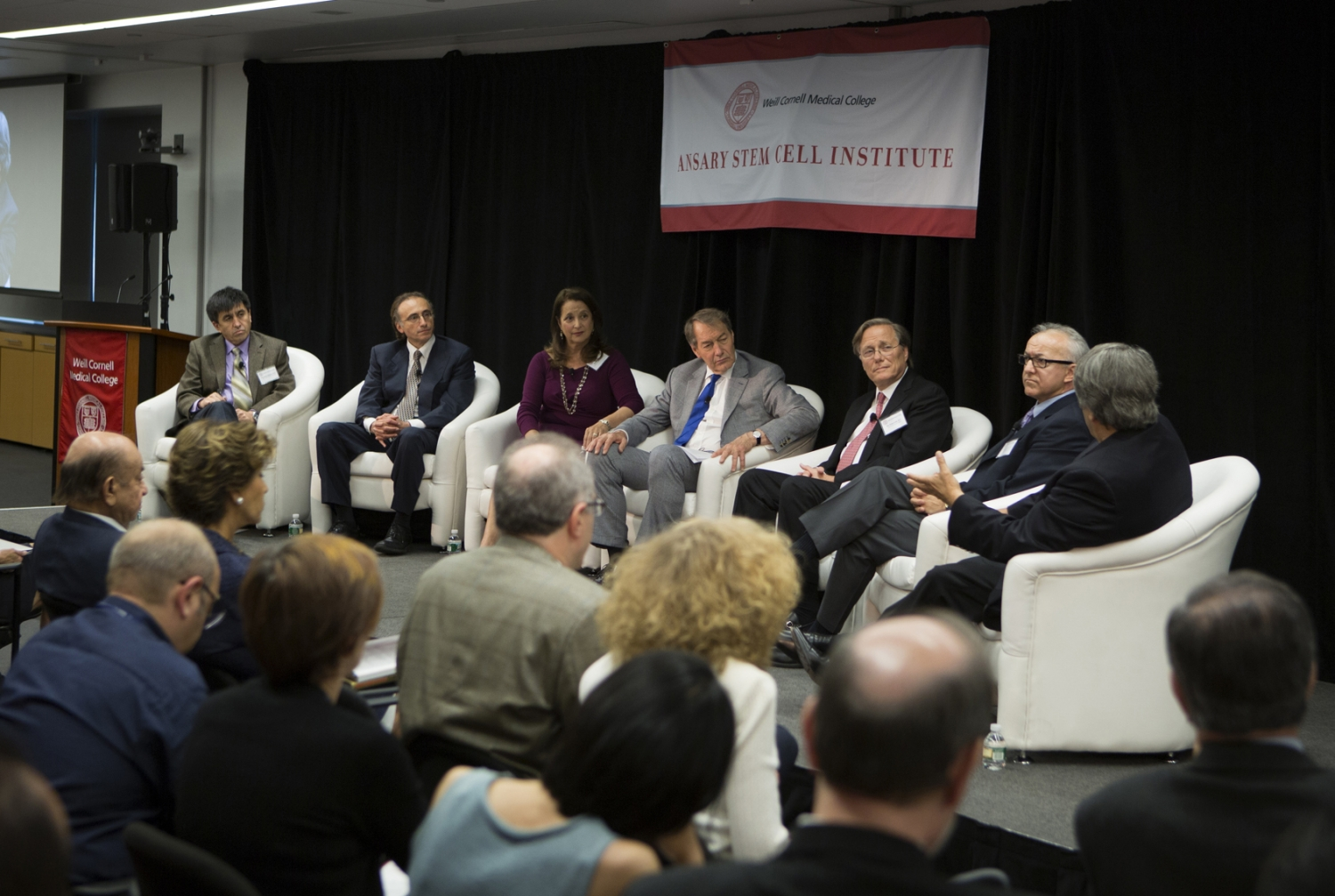 A roundtable hosted by broadcast journalist Charlie Rose was the marquee session of the Ansary Symposium on Stem Cell Research. From left, Dr. Shoukhrat Mitalipov, Dr. Shahin Rafii, Susan Solomon, Rose, Dr. Zev Rosenwaks, Dr. George Daley and Dr. Alan Trounson.  All photos: Janet Charles