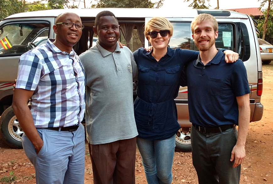 Aggrey Semeere, Mitterand Kirya, Andrea Gardner and Ryan Snodgrass in Kamapala, Uganda.