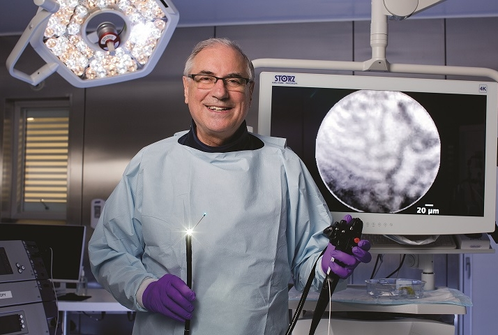 Dr. David Carr-Locke with the type of endomicroscopy equipment he used to help identify the interstitium.