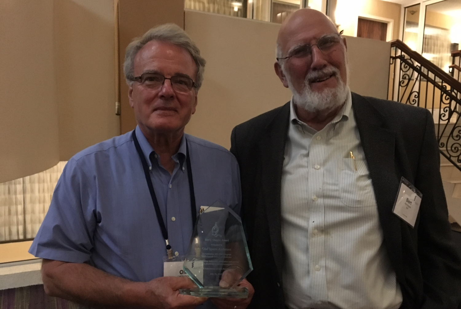 Dr. Olaf Andersen, left, with Dr. Bert I. Shapiro. Photo credit: Dr. Ruth Gotian