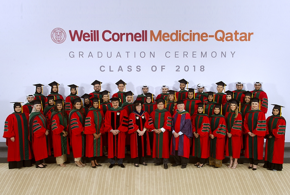 Graduating students wearing robes