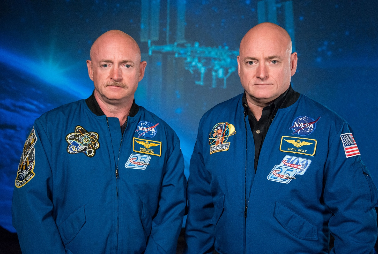 Mark Kelly (left) and Scott Kelly. Credit: Robert Markowitz/NASA