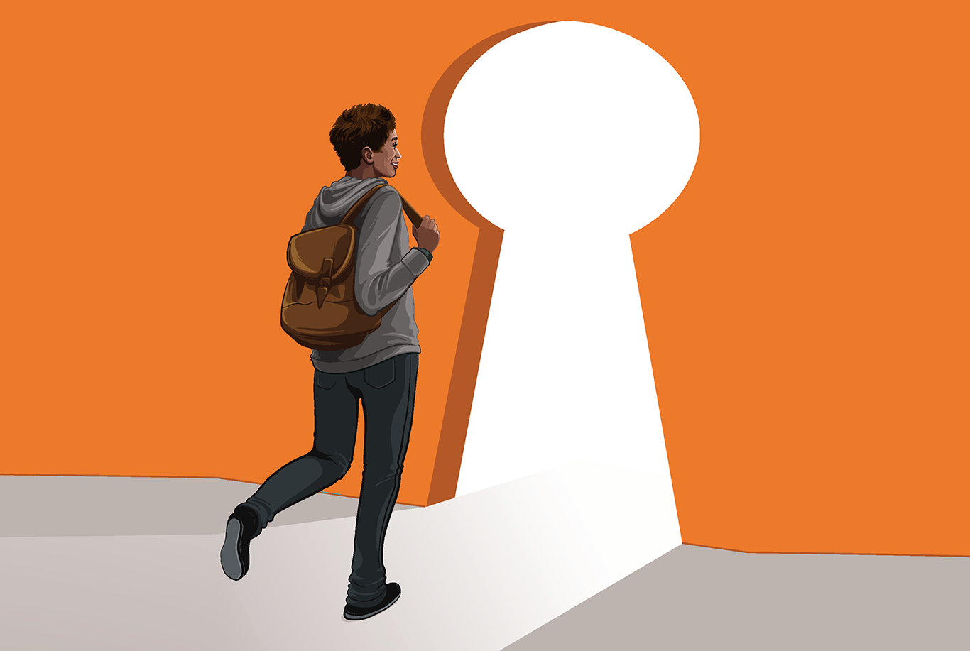 Illustration of a student walking through a key-shaped door.