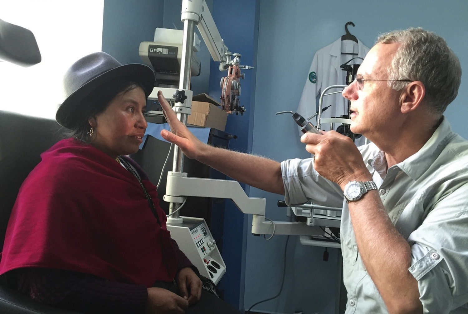 In Sight: Dr. Schwartz doing an exam at the main clinic in Riobamba, the capital of Ecuador's Chimborazo Province. Photo provided.