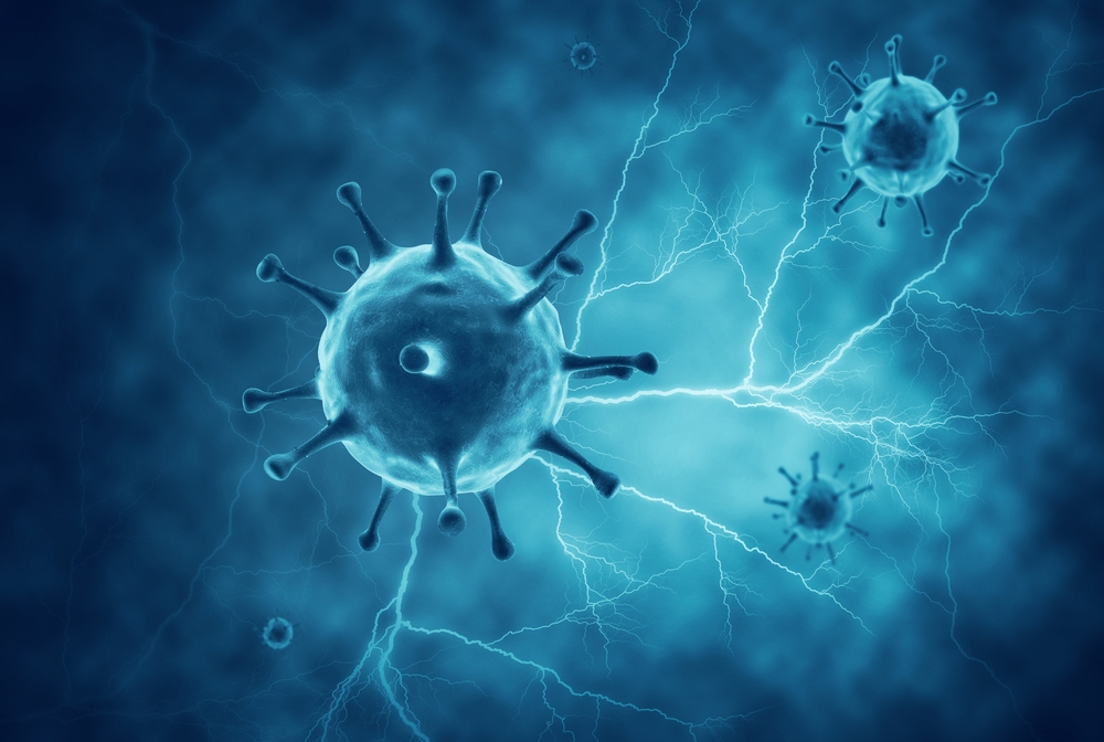 blue colored neurons and coronavirus digitally illustrated