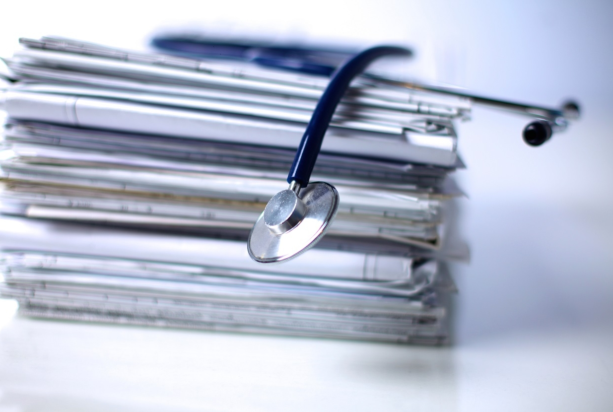 a stack of files.