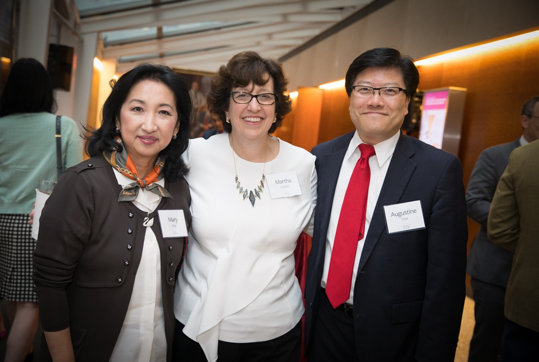 Martha Pollack with Dr. Augustine Choi, right, the Stephen and Suzanne Weiss Dean of Weill Cornell Medicine and provost for medical affairs, and his wife, Dr. Mary Choi. Photo credit: Lindsay France/University Photography