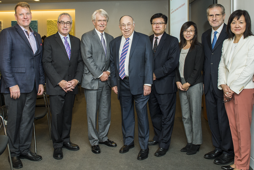 Top experts on Alzheimer's disease speak at the sixth annual Appel Alzheimer's Disease Research Institute Symposium on Sept. 25. From left: Dr. Chris Schaffer, Dr. Matthew Fink, Dr. Ronald Petersen, Robert Appel, Dr. Augustine M.K. Choi, Appel Institute Director Dr. Li Gan, Dr. Costantino Iadecola and Dr. Li-Huei Tsai. Photos by Studio Brooke
