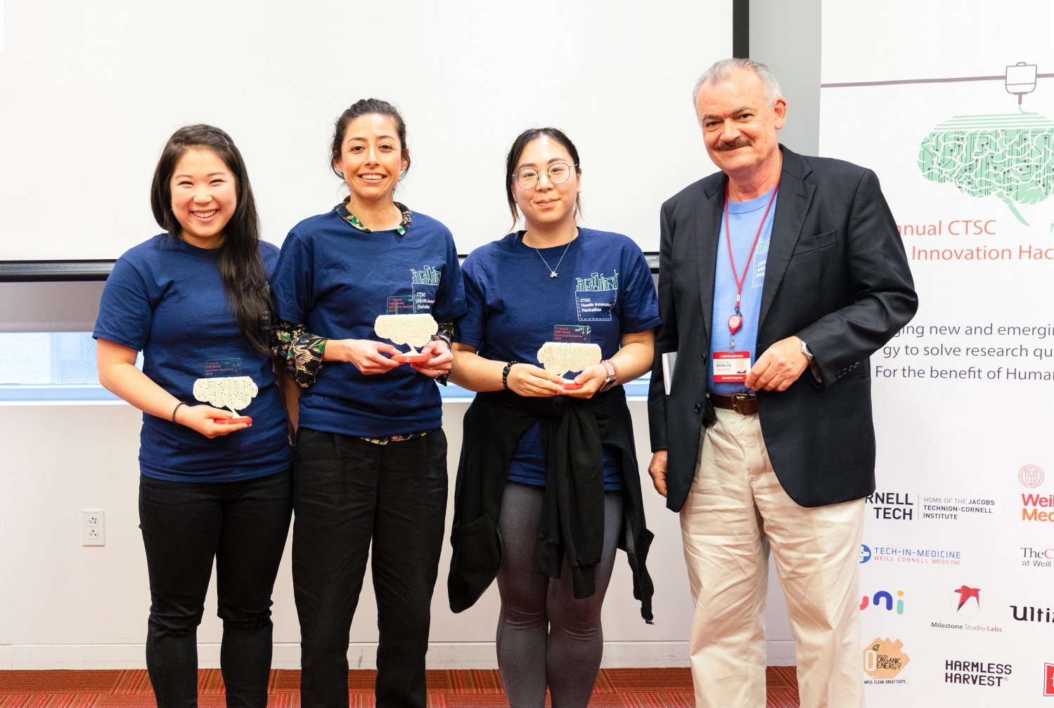 From left: Flora Baik of Weill Cornell Medicine and MSKCC fellows Daly Avendano and Shu Lei alongside Dr. Anthony Brown, the co-director of the CTSC TL1 training program at the second annual Health Innovation Hackathon