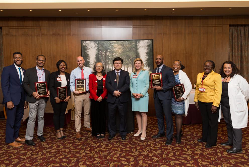 Diversity Award winners: Drs. Marcus Lambert, Anthony Ogedegbe, Rolake Alabi, Eric Kutscher, Linnie Golightly, Augustine Choi, Rache Simmons, Maurice Hinson, Sharon Brooks, Elizabeth Wilson Anstey and Susana Rita Morales
