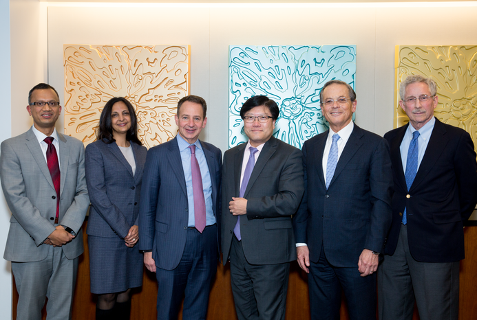From left: Dr. Jyoti Pathak, Dr. Rainu Kushal, Alan Hartman, Dean Augustine M.K. Choi, Dr. Arie Belldegrun, Dr. Carl Nathan. Credit: Ashley Jones