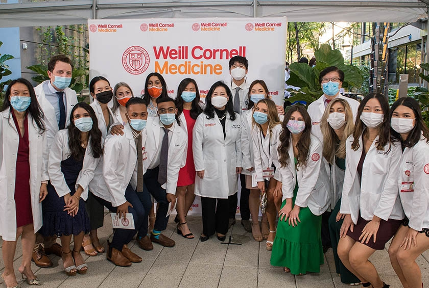 A group photo from the White Coat Ceremony for the Class of 2024