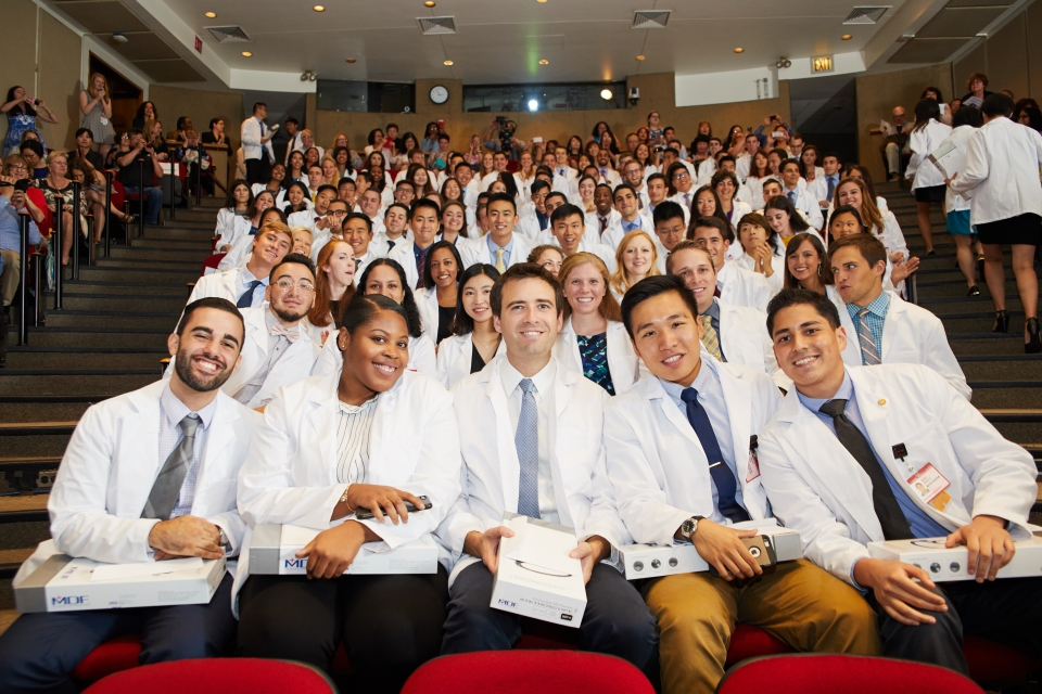 Photo of the class of 2021 during their White Coat ceremony.