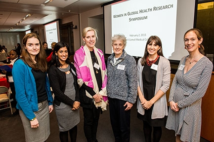 Symposium organizers pose for photos with Dr. Jeanne McDermott (fourth from left), program officer from the National Institutes of Health. From left, Dr. Kathryn Dupnik, Dr. Jyoti Mathad, Dr. Molly McNairy, Dr. McDermott, Lindsey Reif and Dr. Jennifer Dow
