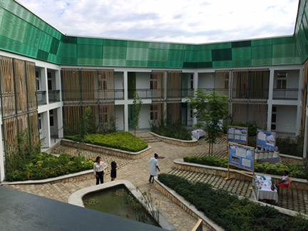 The courtyard of GHESKIO's new hospital in Port-au-Prince, Haiti.