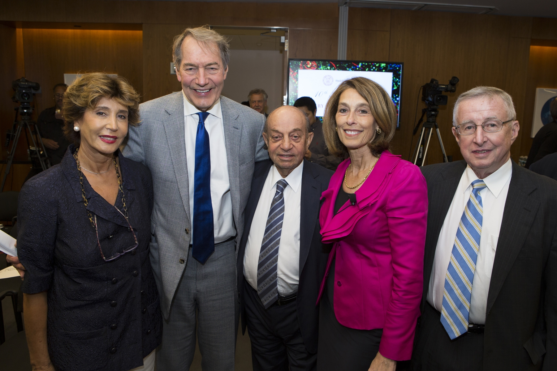 From left: Shahla Ansary, Charlie Rose, Hushang Ansary, Dr. Laurie H. Glimcher and Dr. Antonio M. Gotto, Jr.