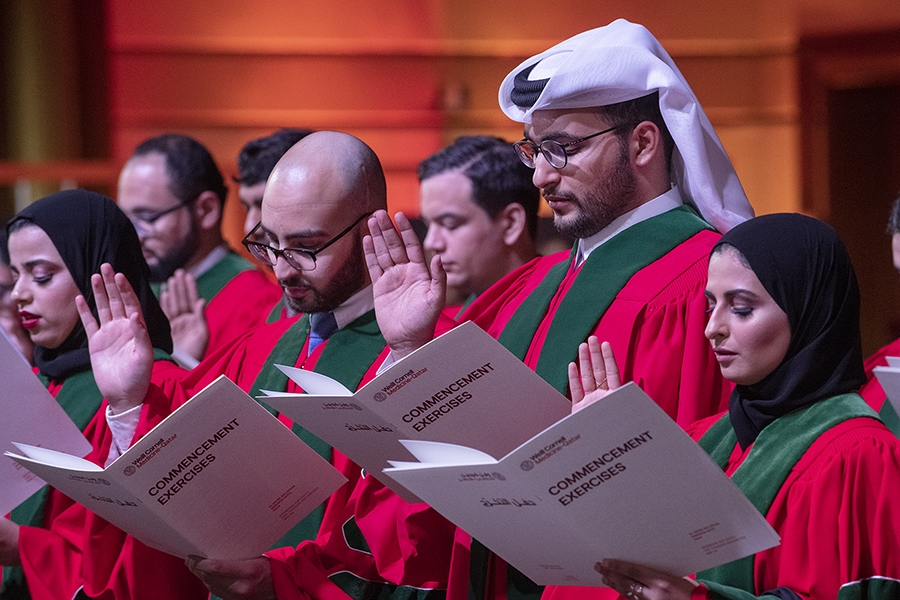 Members of the Class of 2019 swear the Hippocratic Oath.