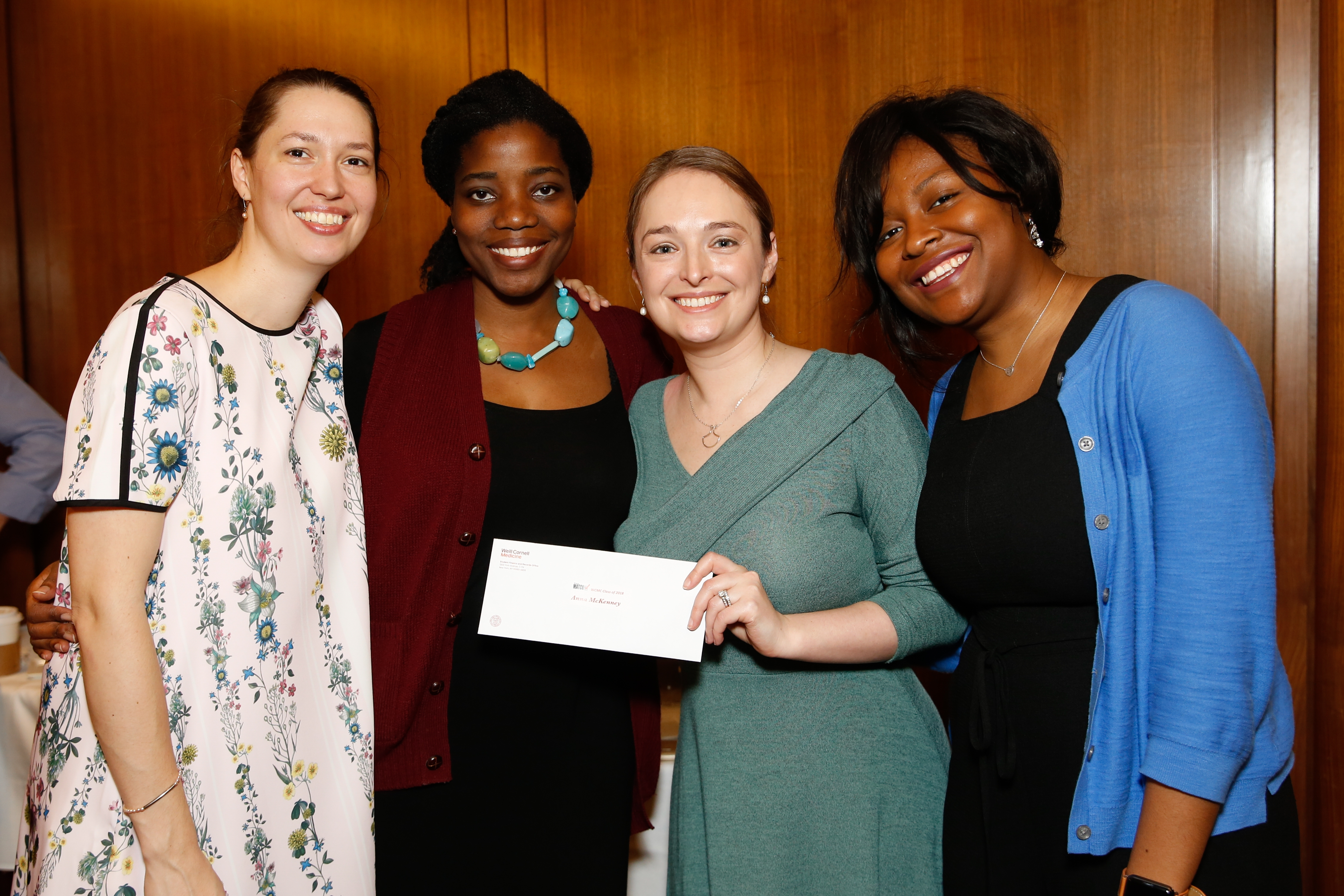 (From left) M.D.-Ph.D students Jennifer Chia, Amma Asare, Sophie McKenney, Rolaki Alabi during Match Day on March 16.