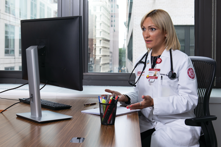 a woman at a desk