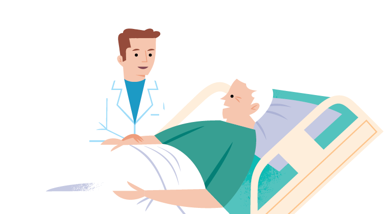 illustration of a doctor and a patient.