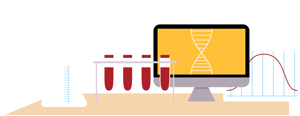 illustration of test tubes and a lab computer.