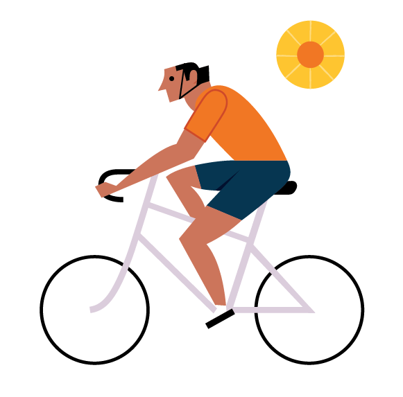 illustration of someone biking.