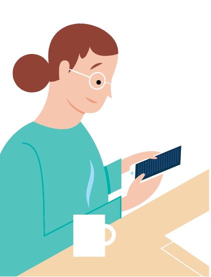 illustration of someone using a mobile device.
