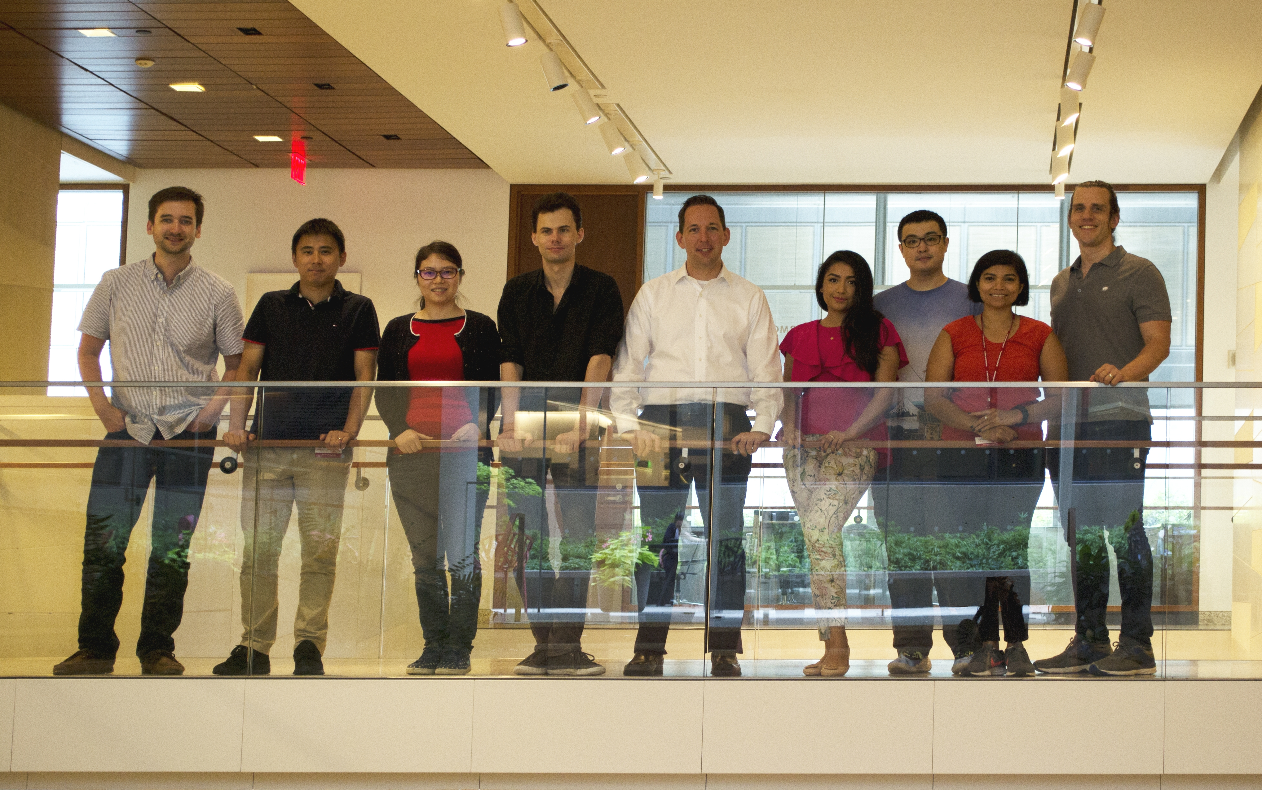 The Sonnenberg Lab (from left to right): John B. Grigg, Dr. Lei Zhou, Dr. Wenqing Zhou, Dr. Jeremy Goc, Dr. Gregory F. Sonnenberg, Samah Mozumder, Dr. Fei Teng, Dr. Ann Joseph, and Dr. Nicholas Bessman. Credit: Jennifer Conrad.