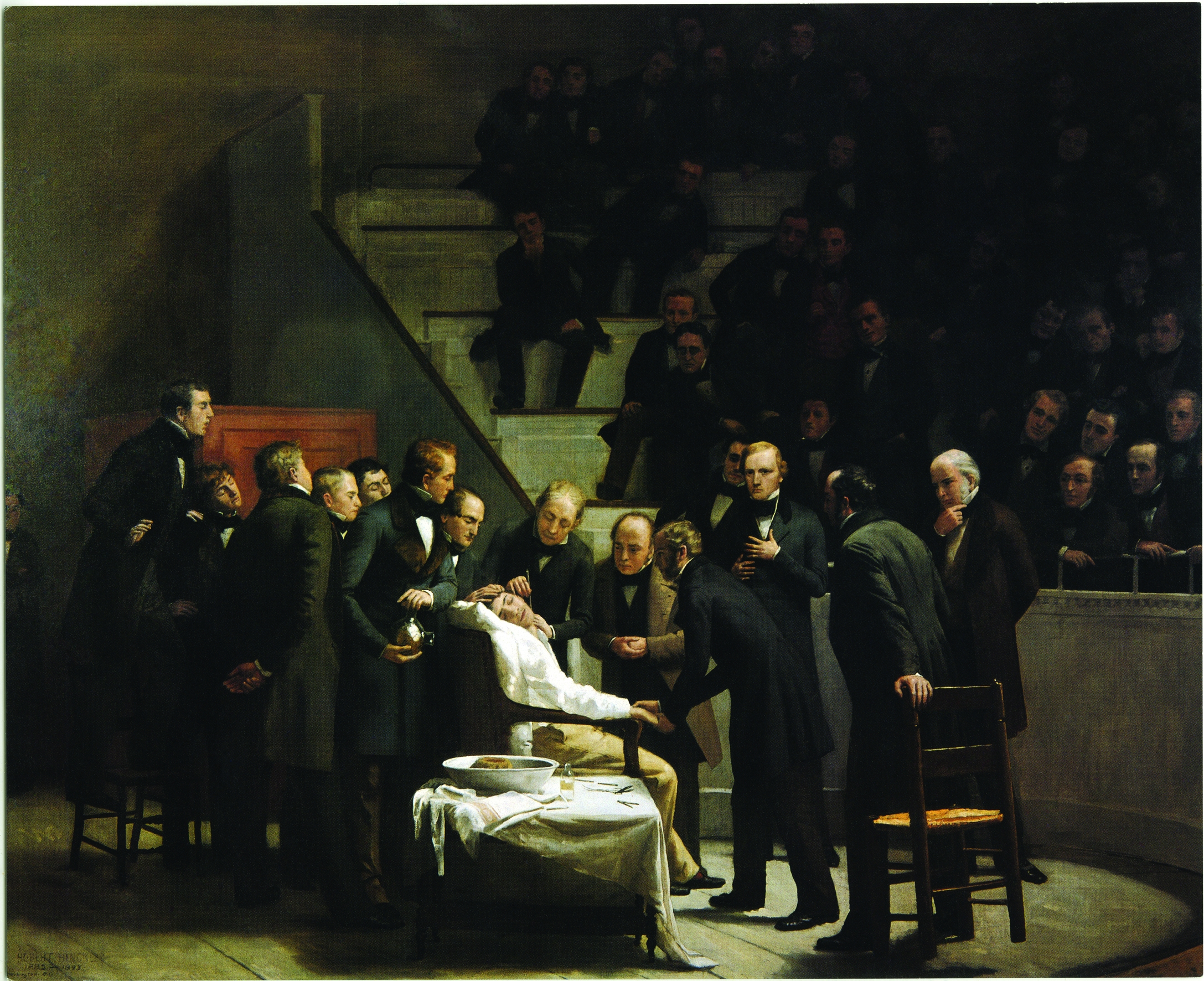 Medical Milestone: Robert Cutler Hinckley's classic painting The First Operation with Ether depicts anesthesia being used on a patient in 1846.
