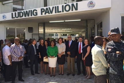 A ribbon-cutting ceremony commemorates the opening of GHESKIO's new tuberculosis hospital in Port-au-Prince, Haiti.