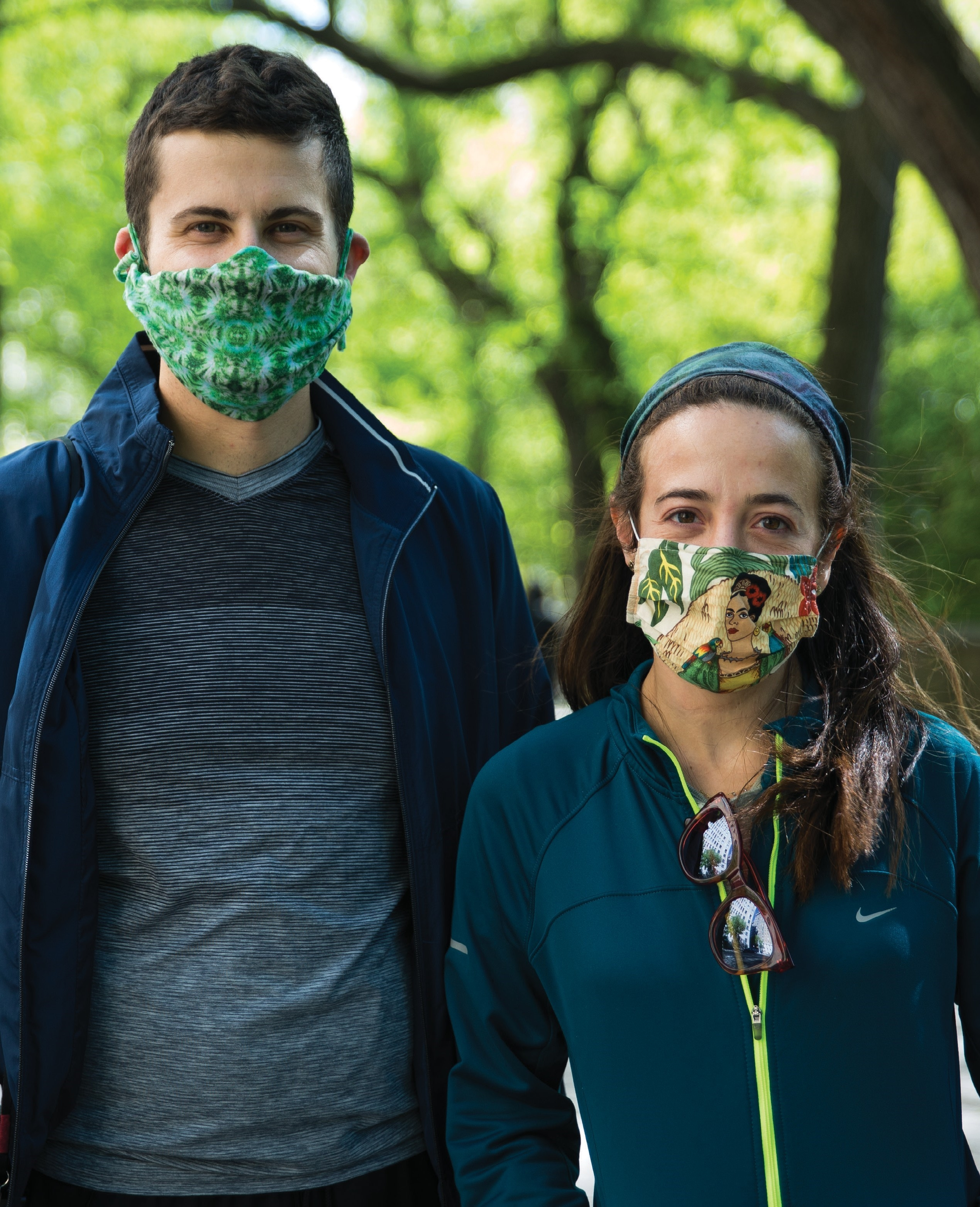 a man and woman posing with my mask