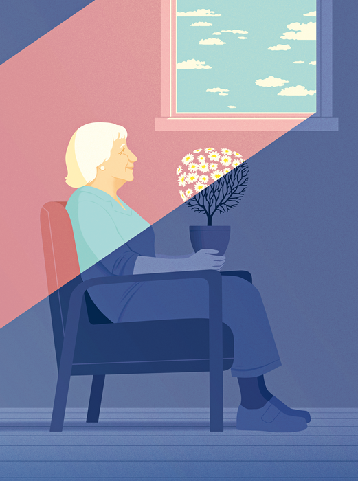 an illustration of an old woman