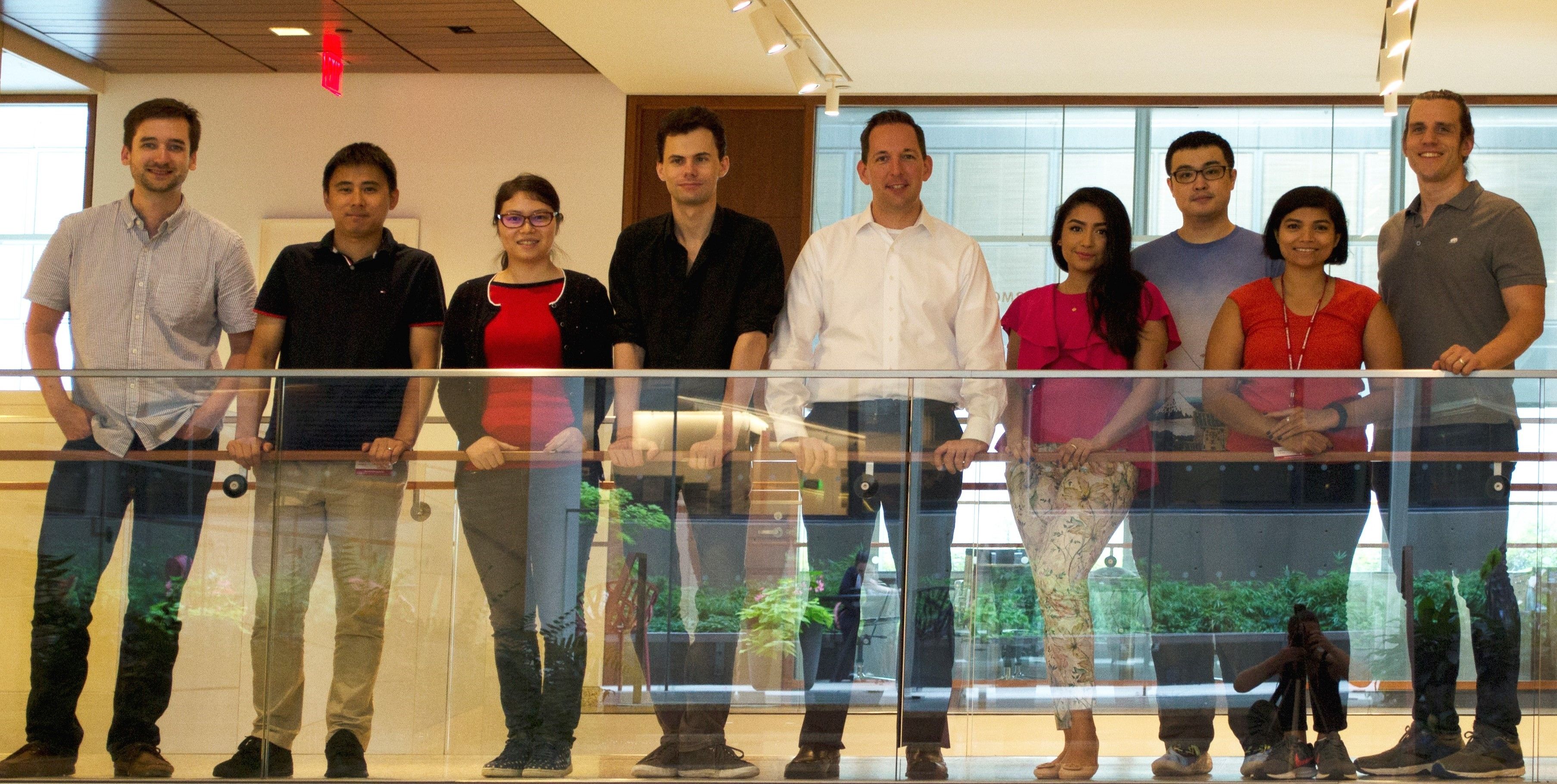 The Sonnenberg Lab (from left to right): John B. Grigg, Dr. Lei Zhou, Dr. Wenqing Zhou, Dr. Jeremy Goc, Dr. Gregory F. Sonnenberg, Samah Mozumder, Dr. Fei Teng, Dr. Ann Joseph, and Dr. Nicholas Bessman. Photo Credit - Jennifer Conrad