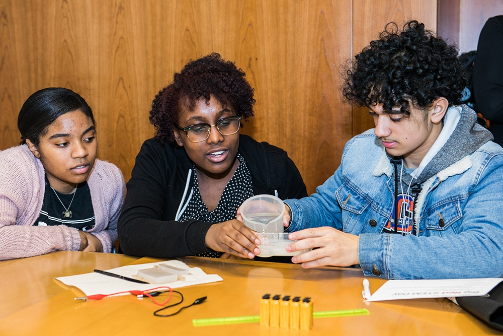 New York City high school students participate in Big Red STEM Day Feb. 27.