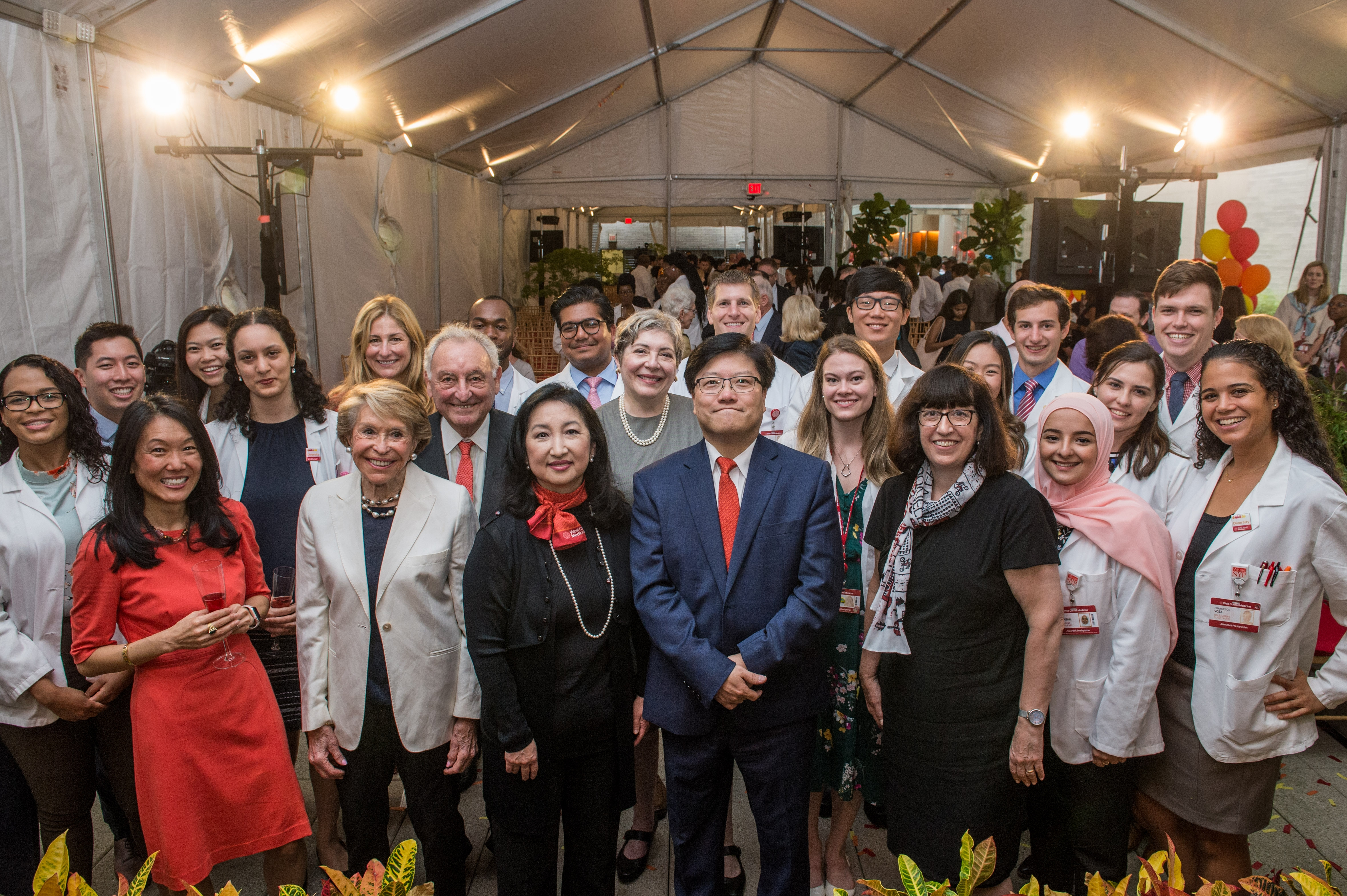 Weill Cornell Medicine leaders, benefactors and students pose during an event on Sept. 16.