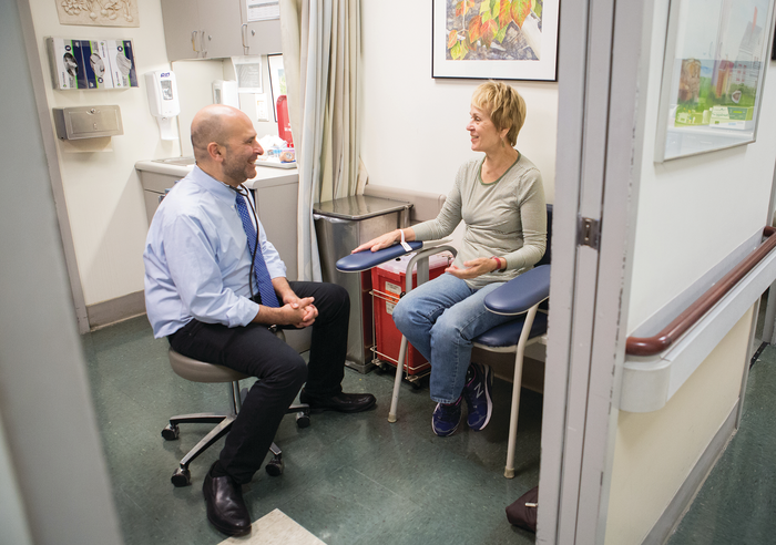 CONTINUITY OF CARE: Patient Neva Sharon (right) with Dr. Mark Lachs at the Wright Center.
