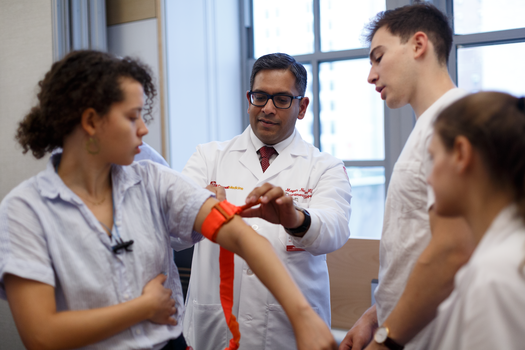 First-year medical students learn basic bleeding control techniques during a Stop the Bleed training.