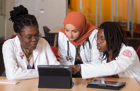Class of '23 members (from left) Rinu Alakiu, Heba Shaaban, and Chimsom Orakwue study in the new Feil Family Student Center.