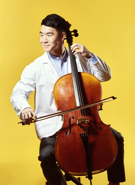 """Timothy Kim '19 - """"I've been playing cello for seventeen years. I play in a quartet regularly, as well as in orchestras here and there. Mostly, I practice on my own to relieve stress."""