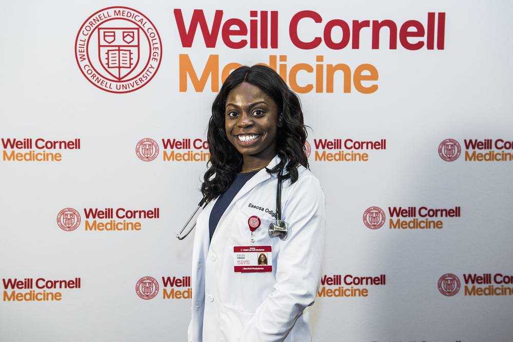 First year medical student Eseosa Odigie at the White Coat Ceremony.